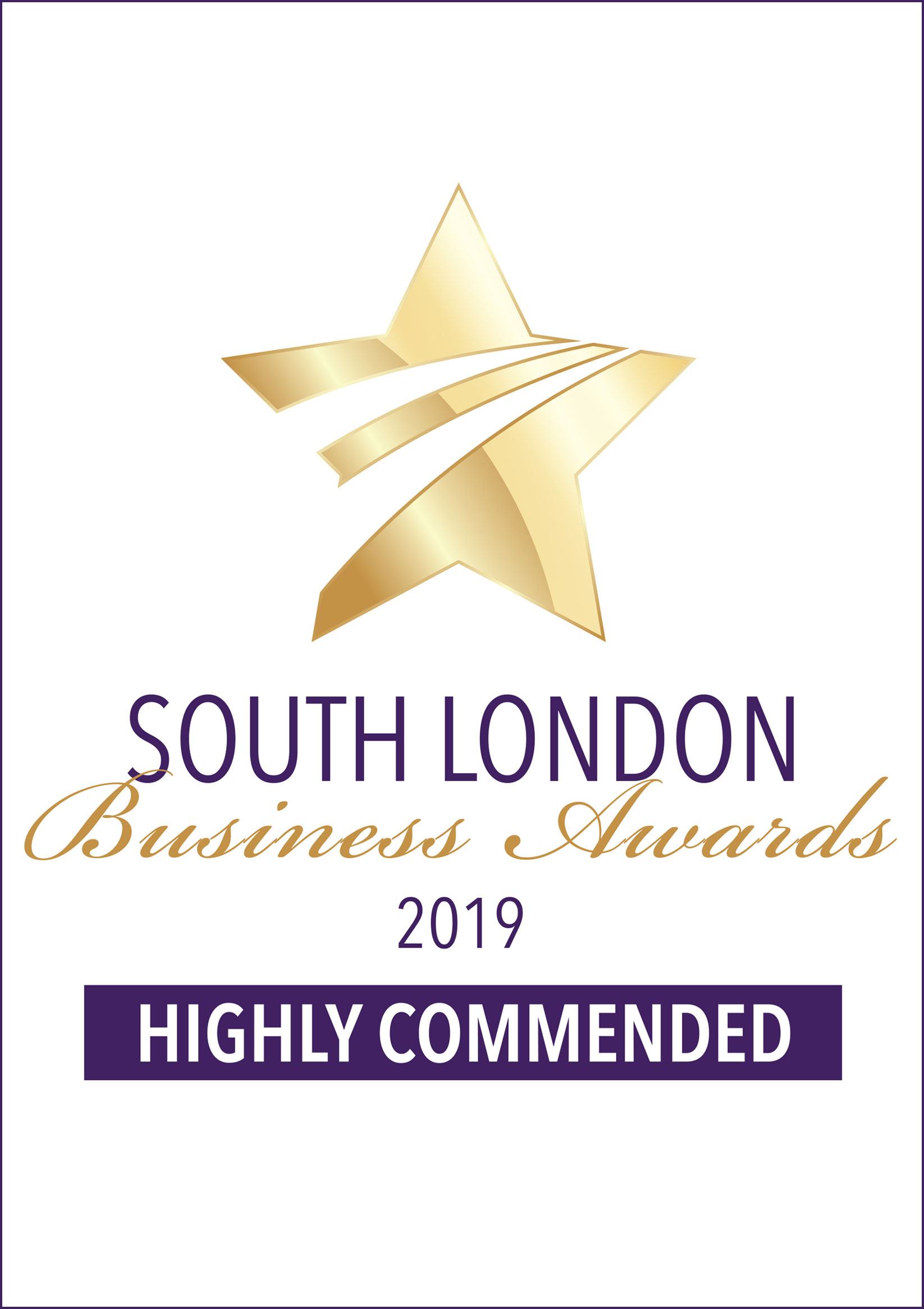 South London Business Awards 2019 - Highly Commended Certificate for - Best Business for Customer Service